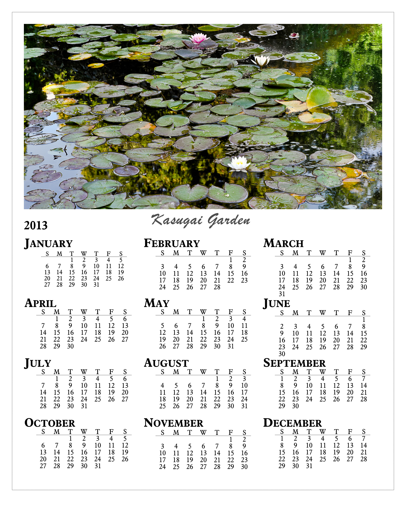 Year Calendar - Lightroom
