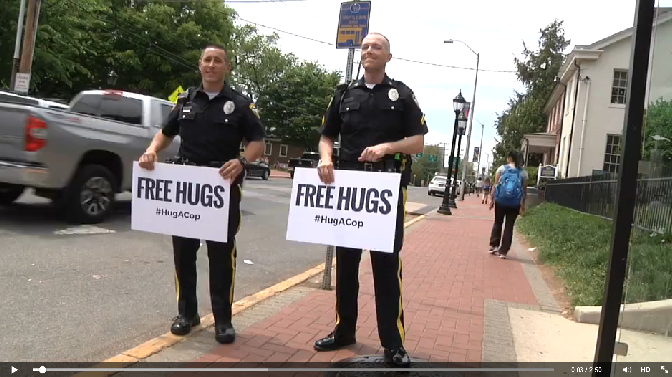 #HugACop in Newark, DE (click the image to see the video)